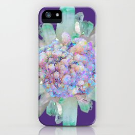 SPARKLING GREEN & PURPLE QUARTZ CRYSTALS PURPLE ART iPhone Case