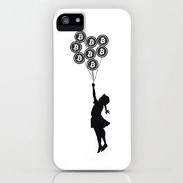 Girl With Bitcoin Balloons iPhone Case
