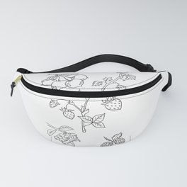 Fruit Variety Study Design — Mixed Fruits Illustration — Strawberry and other Fruits Design Fanny Pack
