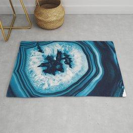 Blue White Agate #2 #gem #decor #art #society6 Rug