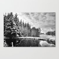 john snow Canvas Prints featuring Elterwater Snow by JPM Design