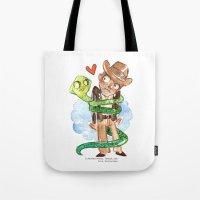 indiana jones Tote Bags featuring Snake Hug Indiana Jones by Super Group Hugs
