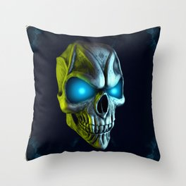 Skull with glowing blue eyes Throw Pillow