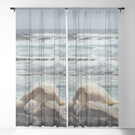 Hawaiian Honu - Sea Turtle Sheer Curtain