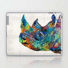 Rhino Rhinoceros Art - Looking Up - By Sharon Cummings Laptop & iPad Skin