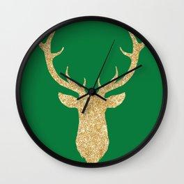 Deer Head Front Green Background Wall Clock