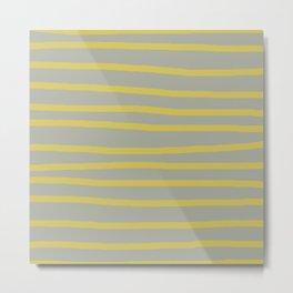 Simply Drawn Stripes in Mod Yellow Retro Gray Metal Print