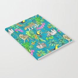 Rainforest Friends - watercolor animals on textured teal Notebook