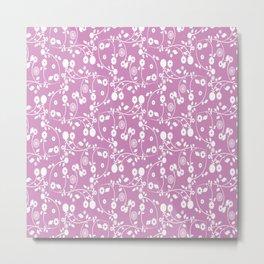 Violet Purple Floral Pattern Metal Print