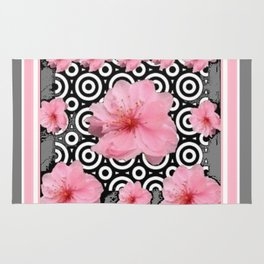 "Grey ""Art Deco"" Cherry Blossom Pattern Art Rug"