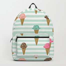ice cream cones flavors mint stripes food fight apparel and gifts Backpack