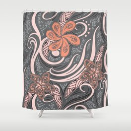 Polynesian Pink Tribal Print Shower Curtain