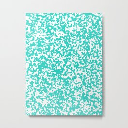 Small Spots - White and Turquoise Metal Print