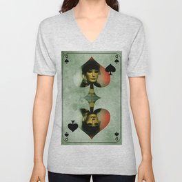 queen of clubs -2- Unisex V-Neck