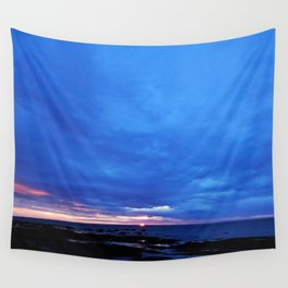 Cloudy Day Sunset on the Sea Wall Tapestry