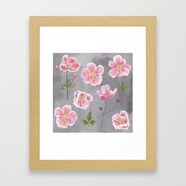 Japanese Anemone Flower Painting Framed Art Print
