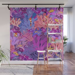 Block Party on the Reef - Clownfish Anemone Marine Sea Life Coral Wall Mural