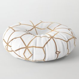 White and Gold - Geometric Cube Design Floor Pillow