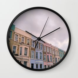 Colourful houses in Notting Hill, London Wall Clock