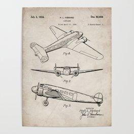 Lockheed Airplane Patent - Electra Aeroplane Art - Antique Poster