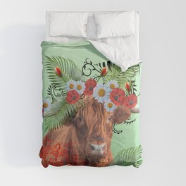 Highland Cow with Fantasy Poppies and Daisies Flowers Comforters