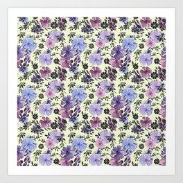 Tricolor pansies Art Print