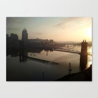 cincinnati Canvas Prints featuring cincinnati sunrise by Monica Ortel ❖