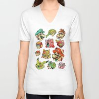 stickers V-neck T-shirts featuring Smashed Bros. by Josh Ln