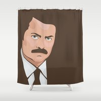 swanson Shower Curtains featuring Ron Swanson by CheekyMonkeyArt