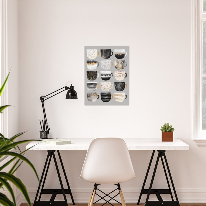 Pretty Coffe Cups 3 - Grey Poster