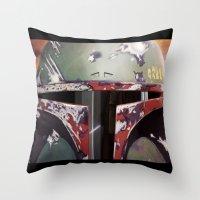 boba fett Throw Pillows featuring Boba Fett by Mel Hampson