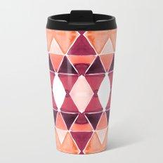 Art Deco Triangles Orange Metal Travel Mug