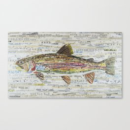 Rainbow Trout Collage by C.E. White Canvas Print