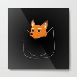 Fox in my pocket - on black Metal Print