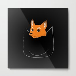 Fox in my pocket - on black Metal Print