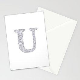 Floral Letter U Stationery Cards