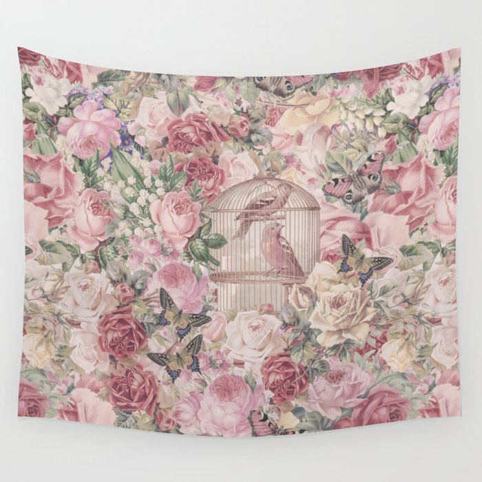 Romantic Flower Pattern And Birdcage Wall Tapestry