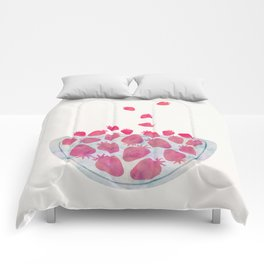 Magic Strawberries in the Bowl Comforters