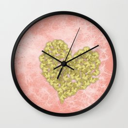 Gold butterflies heart and peach texture Wall Clock