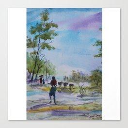 Village Cowherds - in watercolor Canvas Print