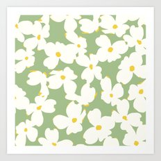Dogwood Floral: Sage/Green Art Print