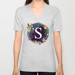 Personalized Monogram Initial Letter S Floral Wreath Artwork Unisex V-Neck