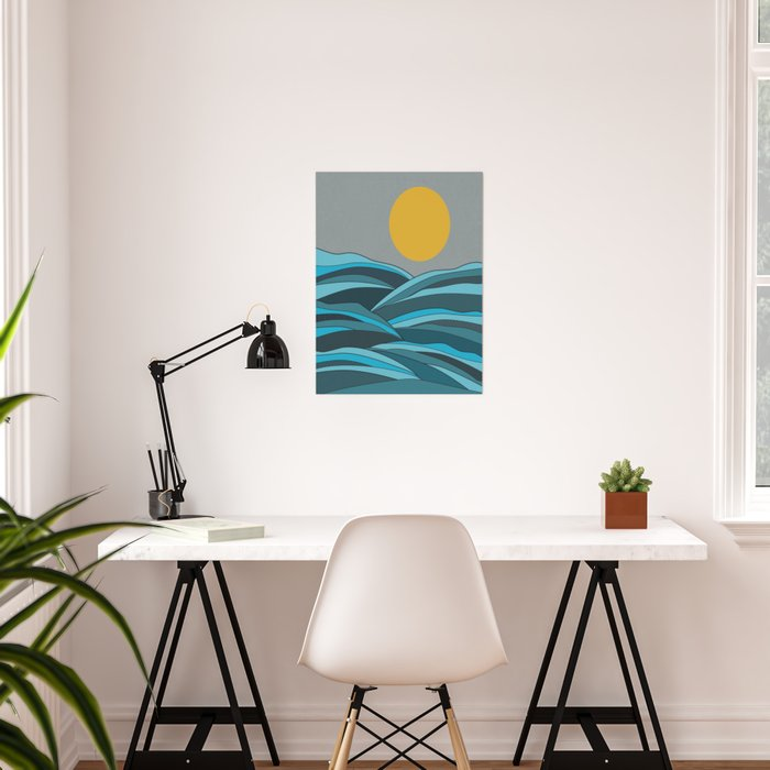 The ocean, waves and sun Poster