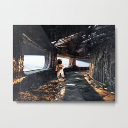 Astronaut in an Abandoned Spaceship Metal Print