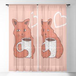 Peach Coffee Kitten Sheer Curtain