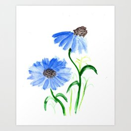 Watercolor Coneflowers Art Print