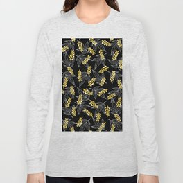 Sunshine yellow black white abstract floral illustration Long Sleeve T-shirt