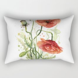 Red Poppies Watercolor Flower Floral Art Rectangular Pillow
