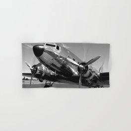 Douglas DC-3 Dakota Chrome Art Deco Airplane black and white photograph / art photography by Brian Burger Hand & Bath Towel