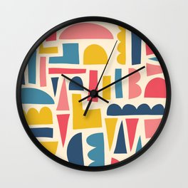 Kids Shapes Collage Blue Pink Yellow Wall Clock